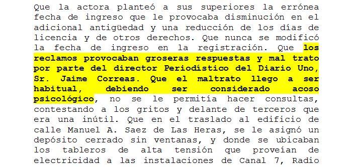 Fragmento de la sentencia de la Tercera Cámara del Trabajo, de la 1ra Circunscripción Judicial de Mendoza.